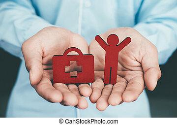 liv, og, sundhed forsikring, politik, begreb, idea.