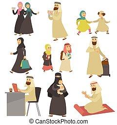 liv, sätta, män, muslimsk, vardaglig, kvinnor