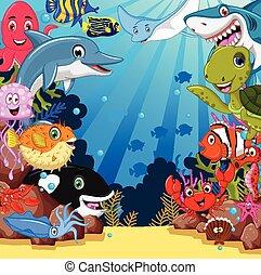 liv, sätta, tecknad film, hav