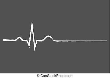 liv, sidste, elektrokardiogram, tegn