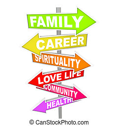 liv, ting, -, priorities, vigige, pil, tegn, balance