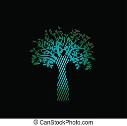 liv, träd, neon, grön fond, svart