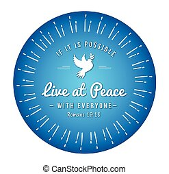 Live at Peace with Everyone Bible Scripture Design Emblem...