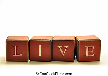 live blocks - LIVE spelled out in blocks