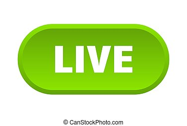 live button. live rounded green sign. live