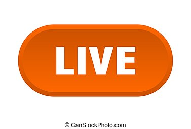 live button. live rounded orange sign. live