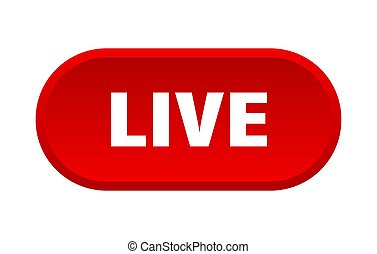 live button. live rounded red sign. live