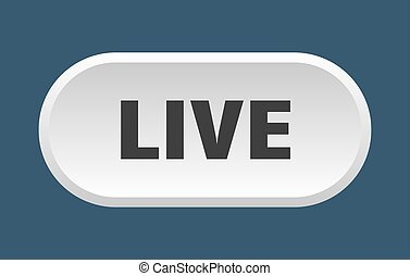 live button. live rounded white sign. live