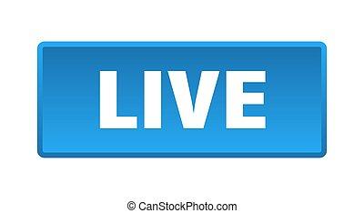 live button. live square blue push button