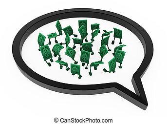 Live Cash, Speech Bubble Inside - Dollar money symbol ...