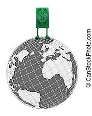 Live Cash, World Top - Dollar money symbol cartoon character...