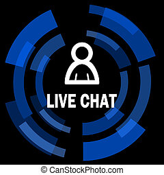 live chat black background simple web icon