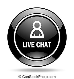 live chat black glossy icon