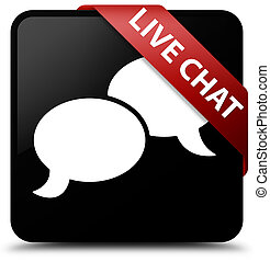 Live chat black square button red ribbon in corner