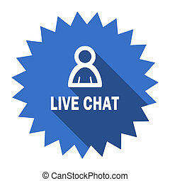 live chat blue flat icon