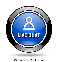 live chat blue glossy icon