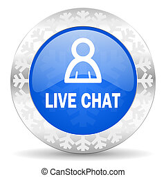 live chat blue icon, christmas button