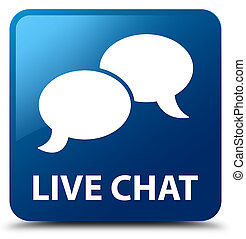 Live chat blue square button