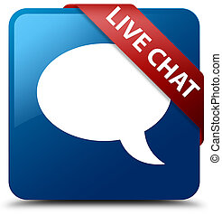 Live chat blue square button red ribbon in corner
