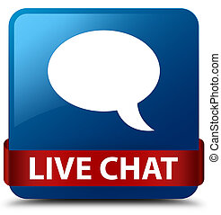 Live chat blue square button red ribbon in middle
