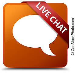 Live chat brown square button red ribbon in corner
