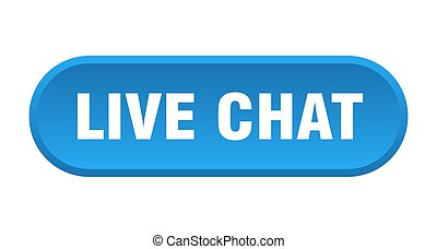 live chat button. rounded sign on white background