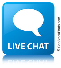 Live chat cyan blue square button