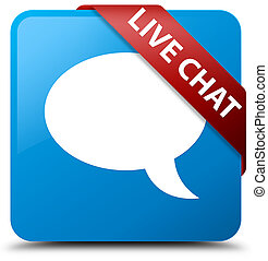 Live chat cyan blue square button red ribbon in corner