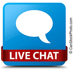 Live chat cyan blue square button red ribbon in middle