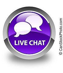 Live chat glossy purple round button