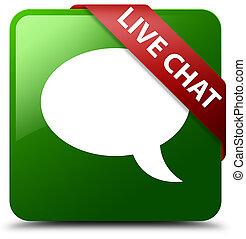 Live chat green square button red ribbon in corner