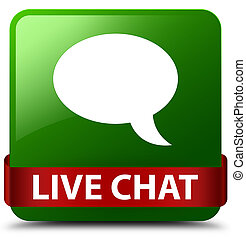 Live chat green square button red ribbon in middle