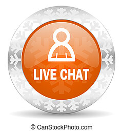 live chat orange icon, christmas button