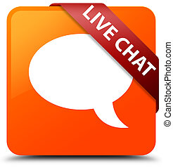 Live chat orange square button red ribbon in corner