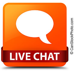 Live chat orange square button red ribbon in middle