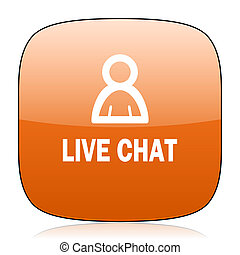 live chat orange square web design glossy icon