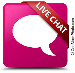 Live chat pink square button red ribbon in corner