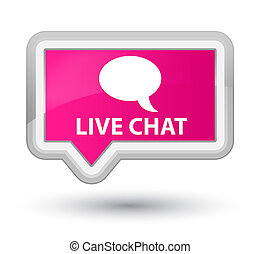 Live chat isolated on prime pink banner button abstract illustration