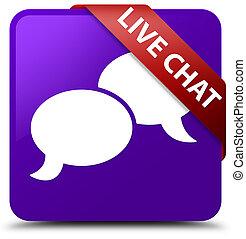 Live chat purple square button red ribbon in corner