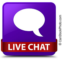 Live chat purple square button red ribbon in middle