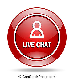 live chat red web glossy round icon