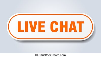 live chat sign. rounded isolated button. white sticker