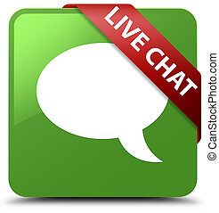 Live chat soft green square button red ribbon in corner