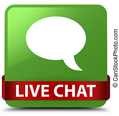 Live chat soft green square button red ribbon in middle