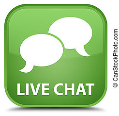 Live chat special soft green square button