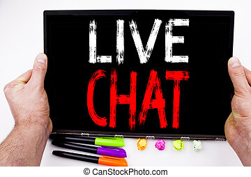 Live Chat text written on tablet, computer in the office with marker, pen, stationery. Business concept for Chatting Communication Digital Web Concept white background with copy space