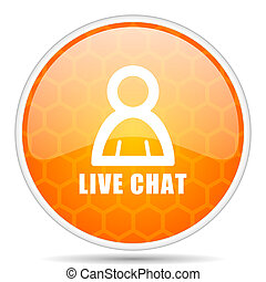 Live chat web icon. Round orange glossy internet button for webdesign.