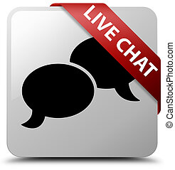 Live chat white square button red ribbon in corner