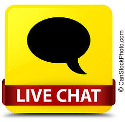 Live chat yellow square button red ribbon in middle