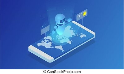 Live chatbot tells the weather forecast. Isometric Online...